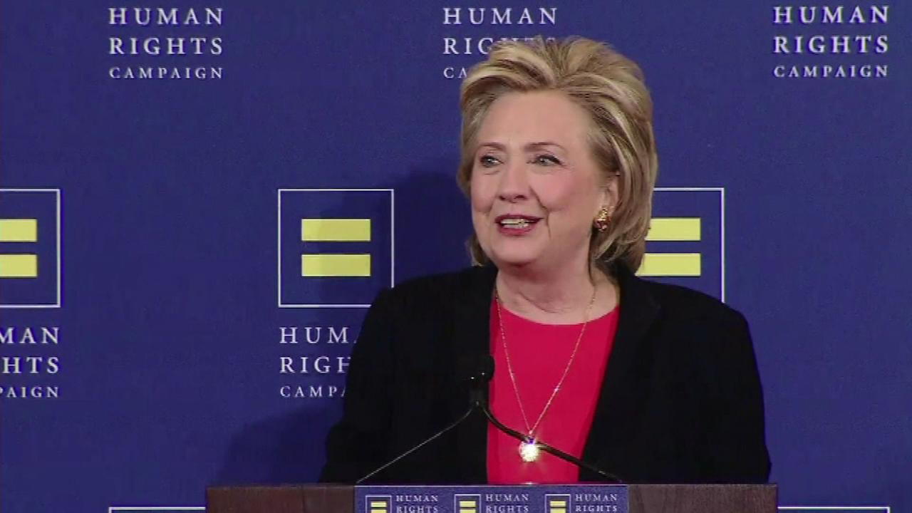 Hillary Rodham Clinton on Saturday delivered the strongest speech in support of gay rights in the 2016 presidential race on Saturday.