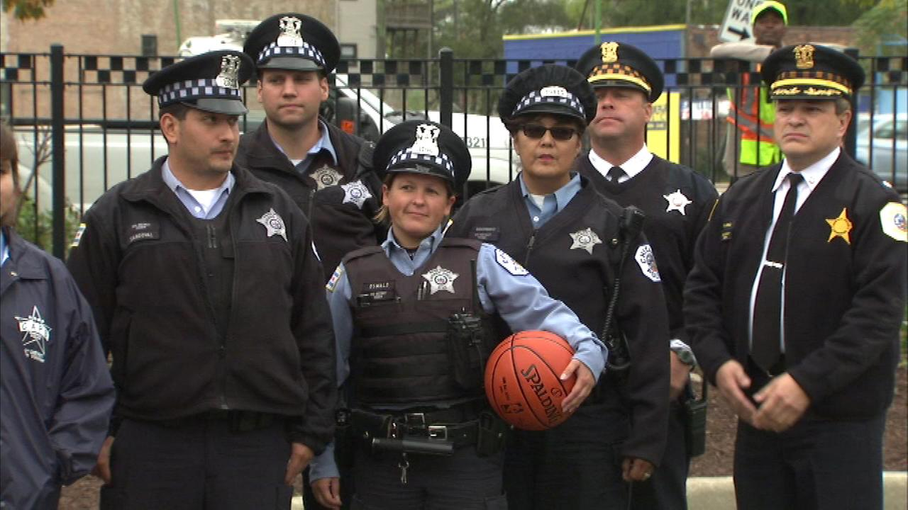 A police station on Chicagos West Side opened a new basketball court for the community Sunday afternoon.