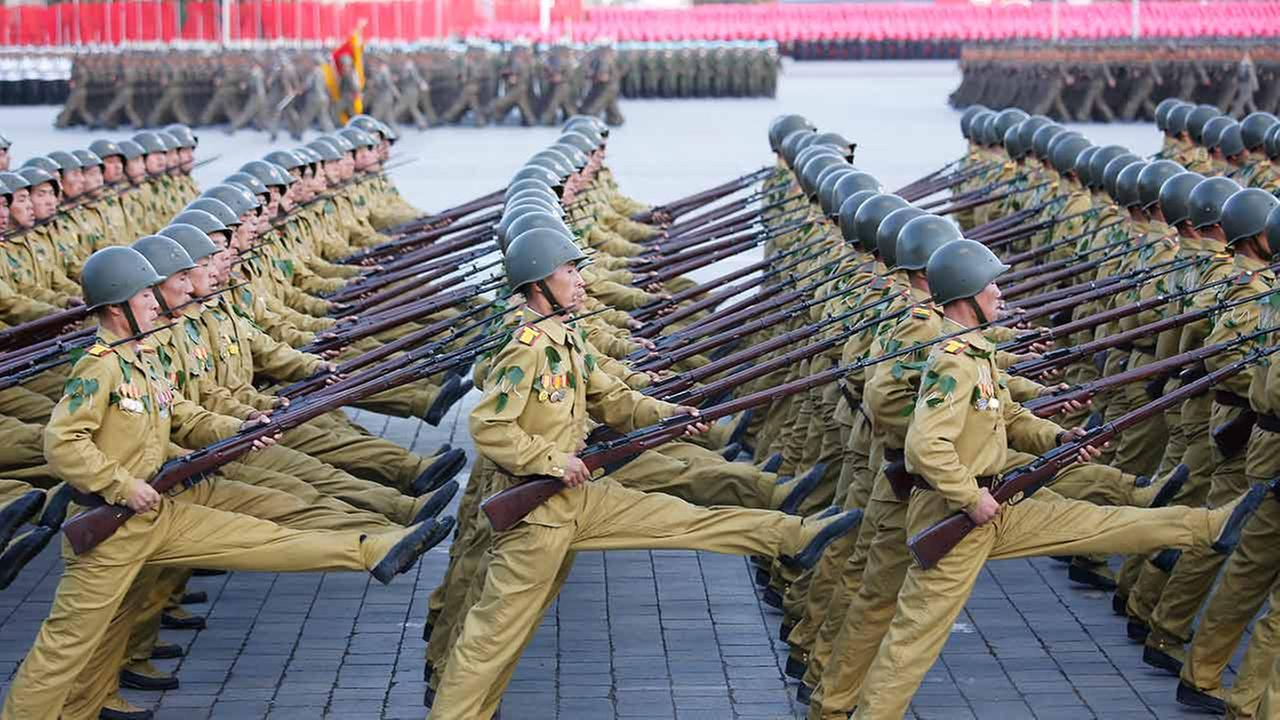 North Korean soldiers parade on Kim Il Sung Square on Oct. 10, 2015, in Pyongyang, North Korea.