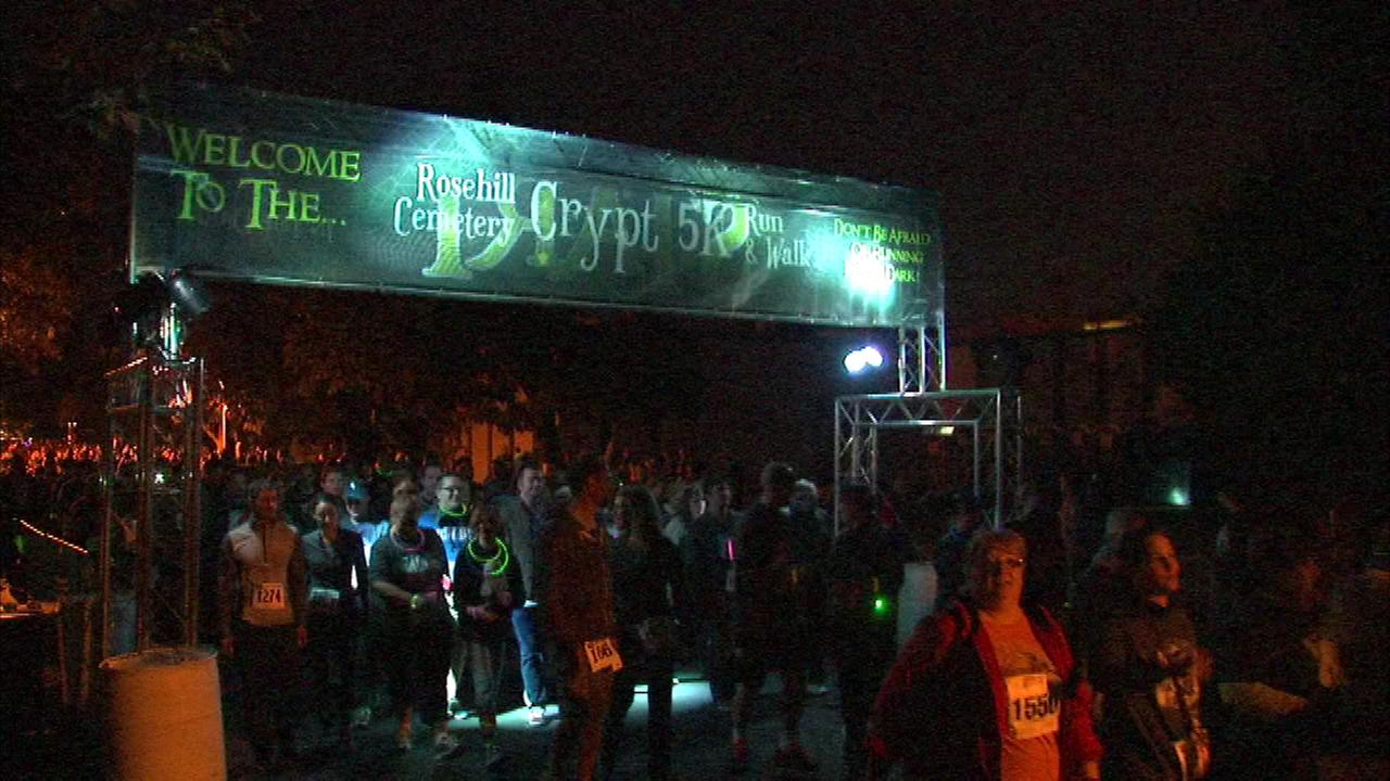 Hundreds of people gathered at Rosehill Cemetery for a spooky event Saturday night for the fourth annual Crypt 5K Run and Walk.