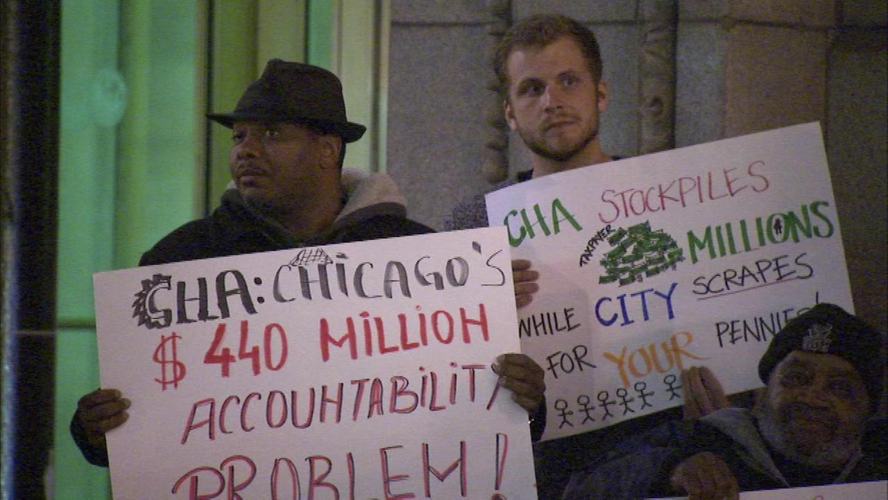 Homeless activists protested outside Chicago City Hall on Tuesday night.