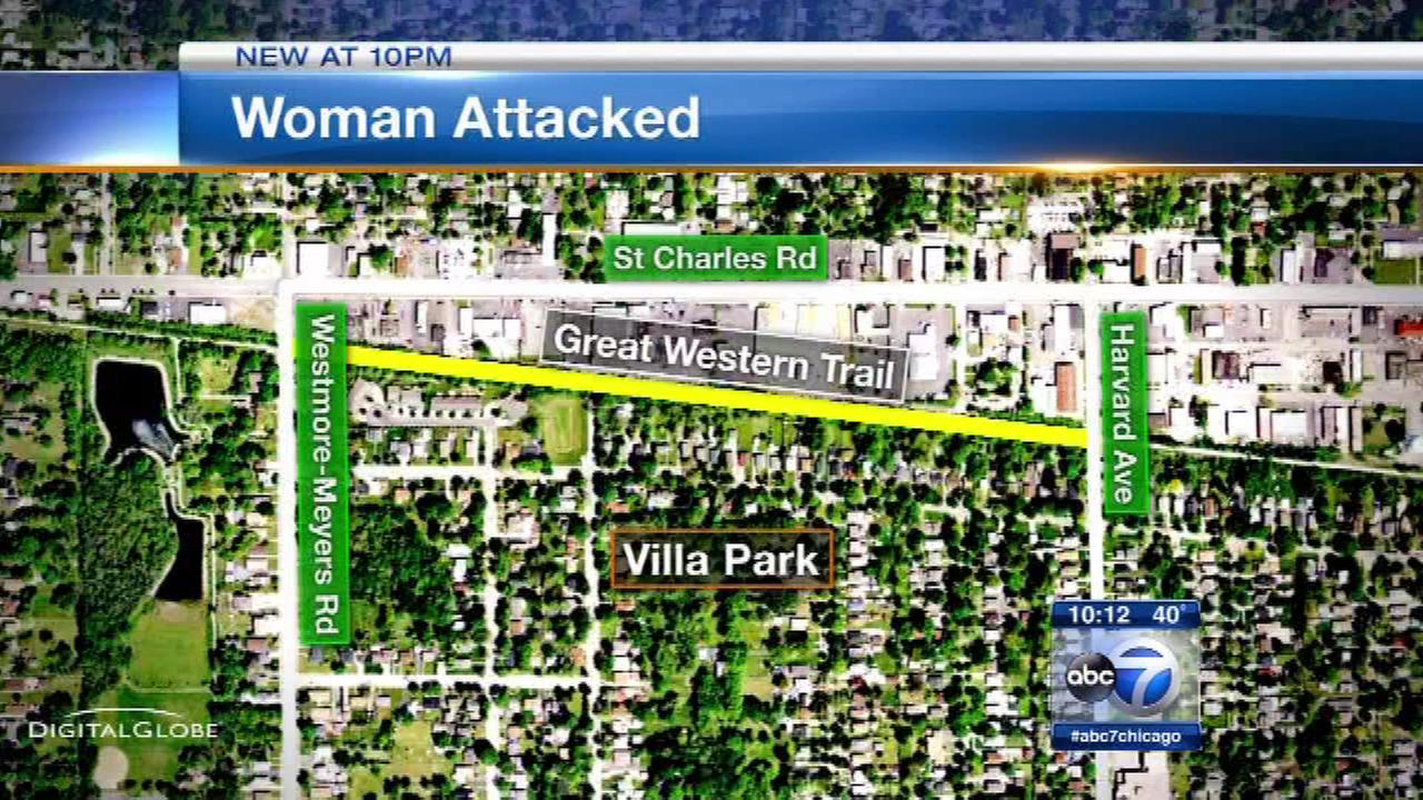 Police are investigating after a woman was attacked while walking the Great Western Trail in suburban Villa Park.