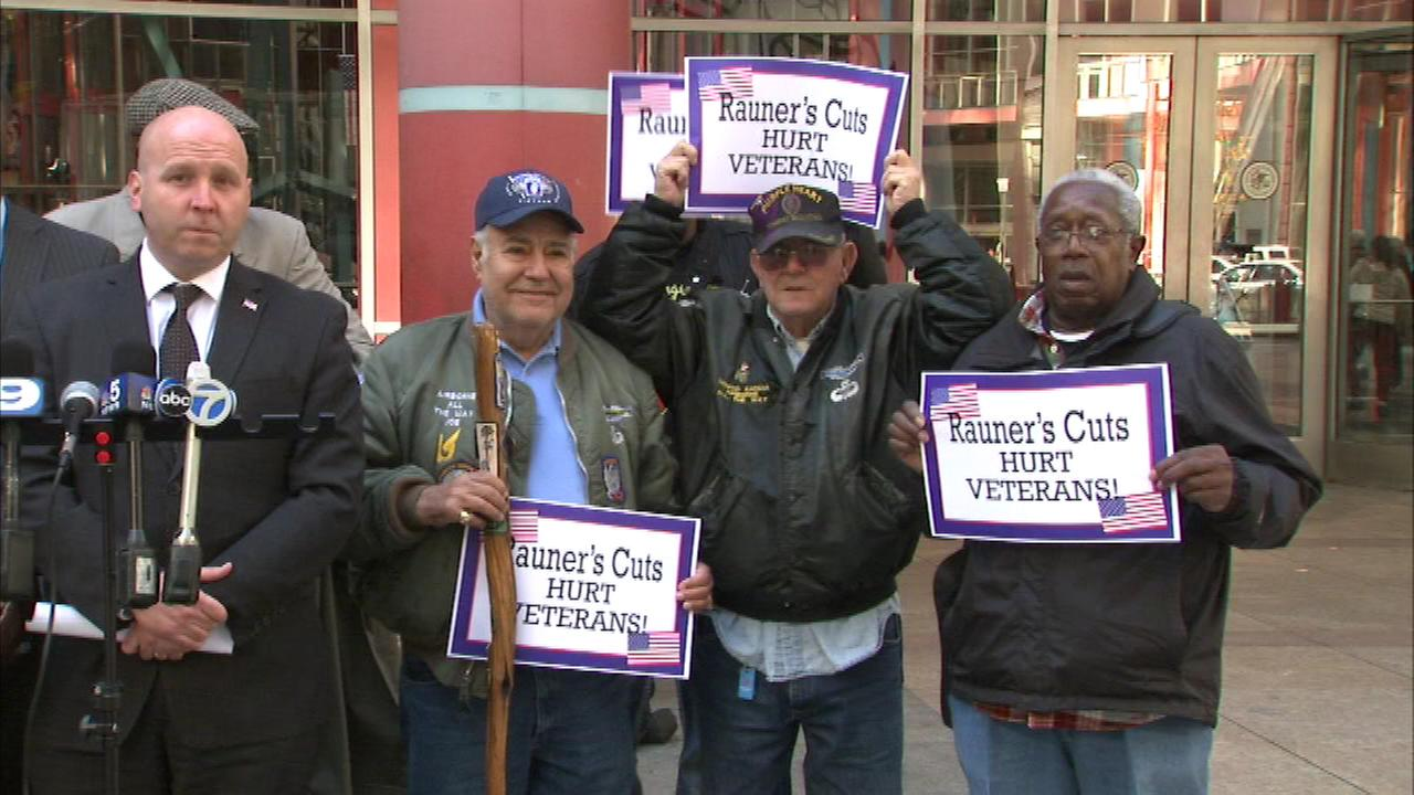 A group of veterans protested against Gov. Bruce Rauners proposed cuts to home care services in the state budget.