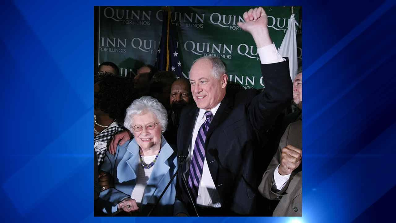 Eileen Quinn, the mother of former Illinois Governor Pat Quinn, has died at the age of 98, on Saturday, Nov. 21, 2015.AP Photo/Charles Rex Arbogast File