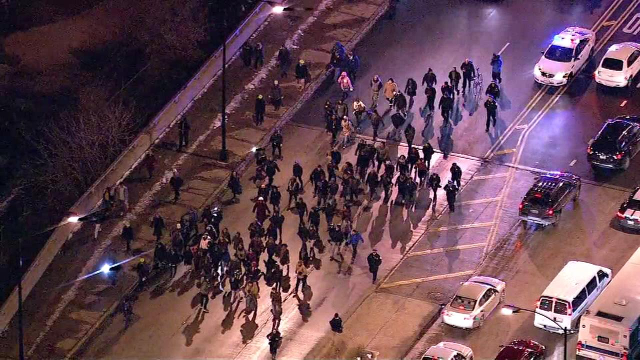 Protesters started marching from South Halsted east on Roosevelt toward Michigan Avenue in the South Loop neighborhood.