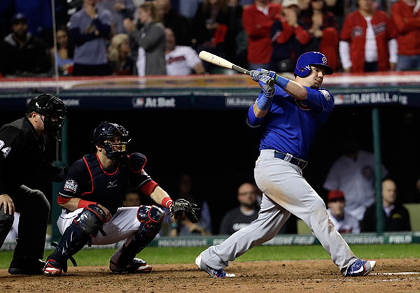 <div class='meta'><div class='origin-logo' data-origin='none'></div><span class='caption-text' data-credit='AP Photo/David J. Phillip'>Chicago Cubs' Kyle Schwarber hits a single during the 10th inning of Game 7.</span></div>