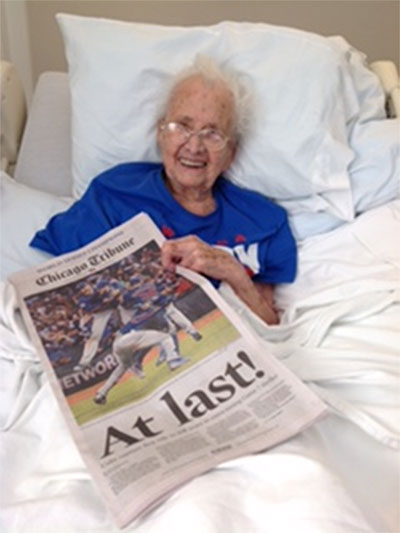 <div class='meta'><div class='origin-logo' data-origin='AP'></div><span class='caption-text' data-credit='Rich Ball'>Mabel Ball, 108, celebrates the Cubs' second World Series win in her lifetime.</span></div>