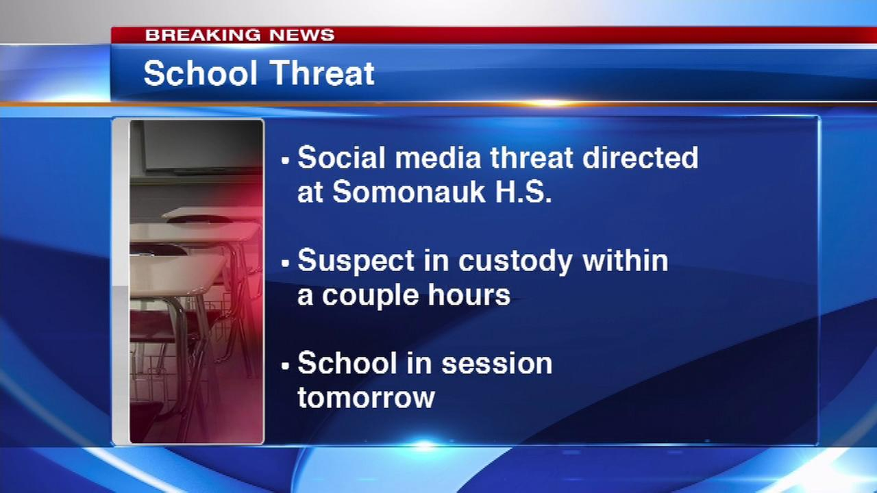 A person is in custody in DeKalb County after allegedly posting a threat directed at Somonauk High School on social media.