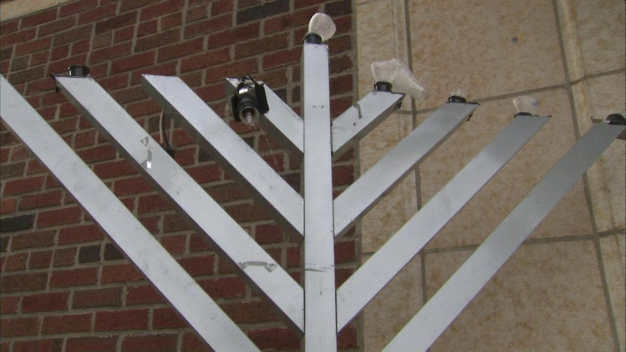 A menorah was vandalized at a hospital facility run by the Chicago Mitzvah Campaign.