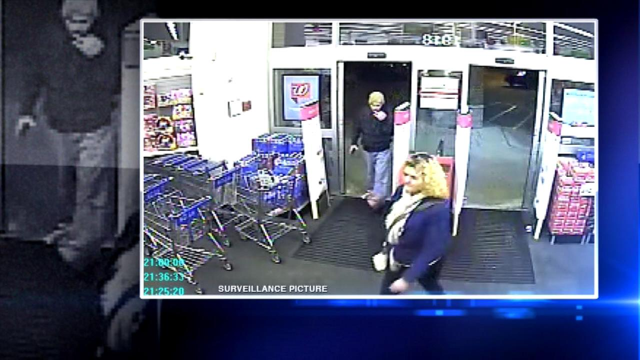 Surveillance photo of two people believed to have stolen hundreds of dollars worth of make-up from Walgreens in Batavia.