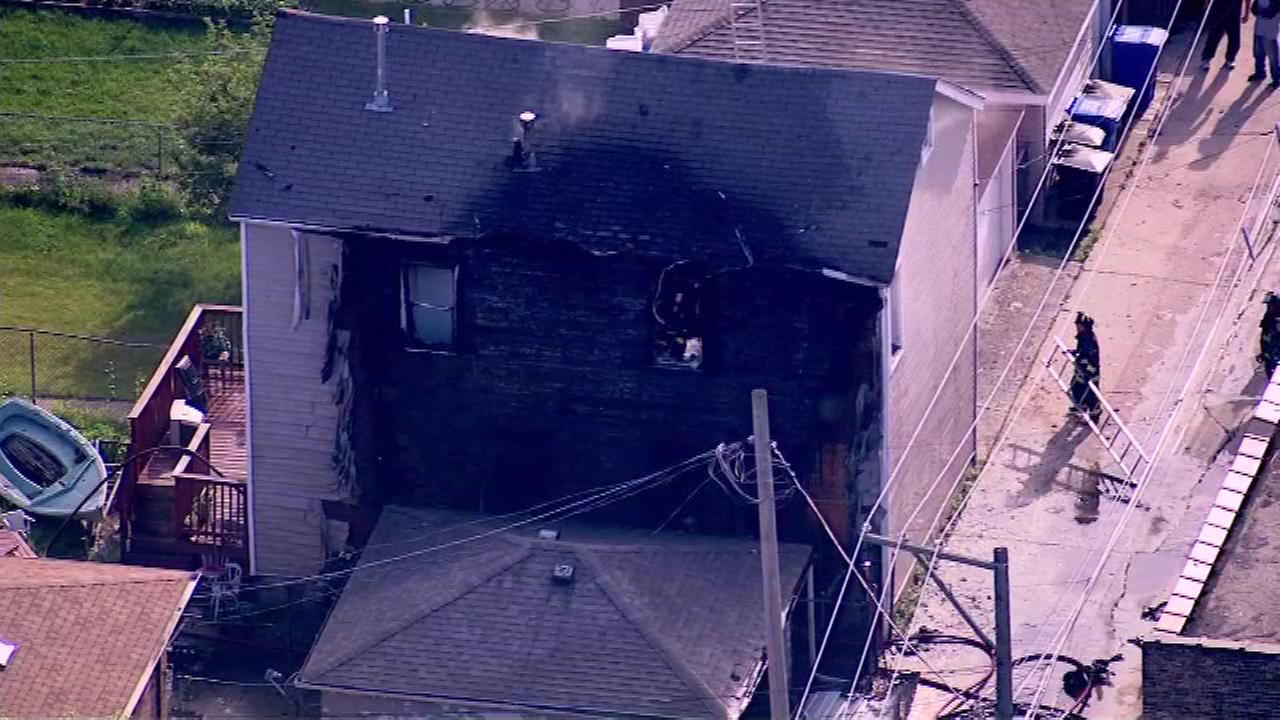 Chicago firefighters battled a blaze in the Bridgeport neighborhood Sunday.