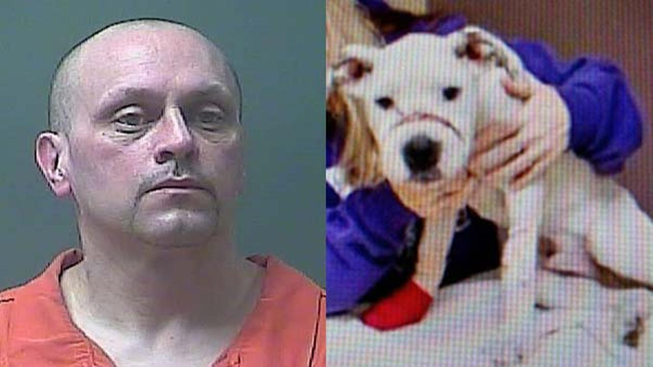 Richard Cope (left) and abused dog (right)