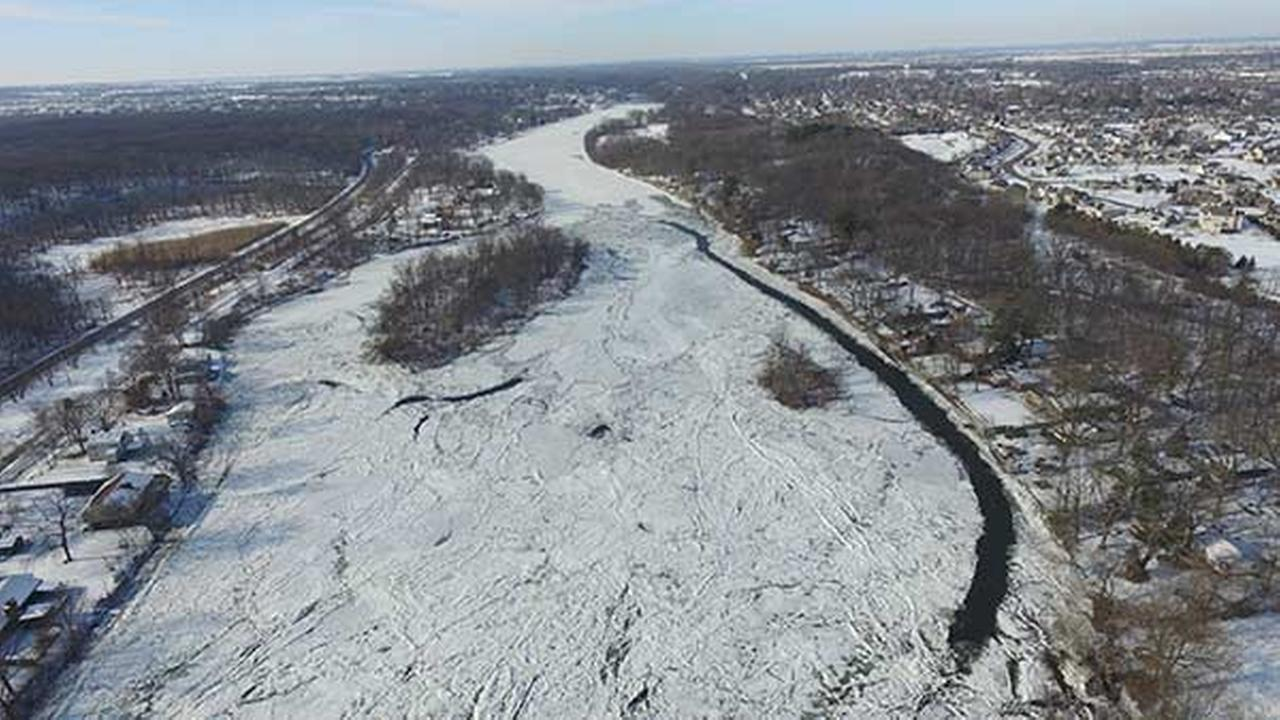 Ice jams formed on the Fox River about a mile east of Route 47 in Yorkville.