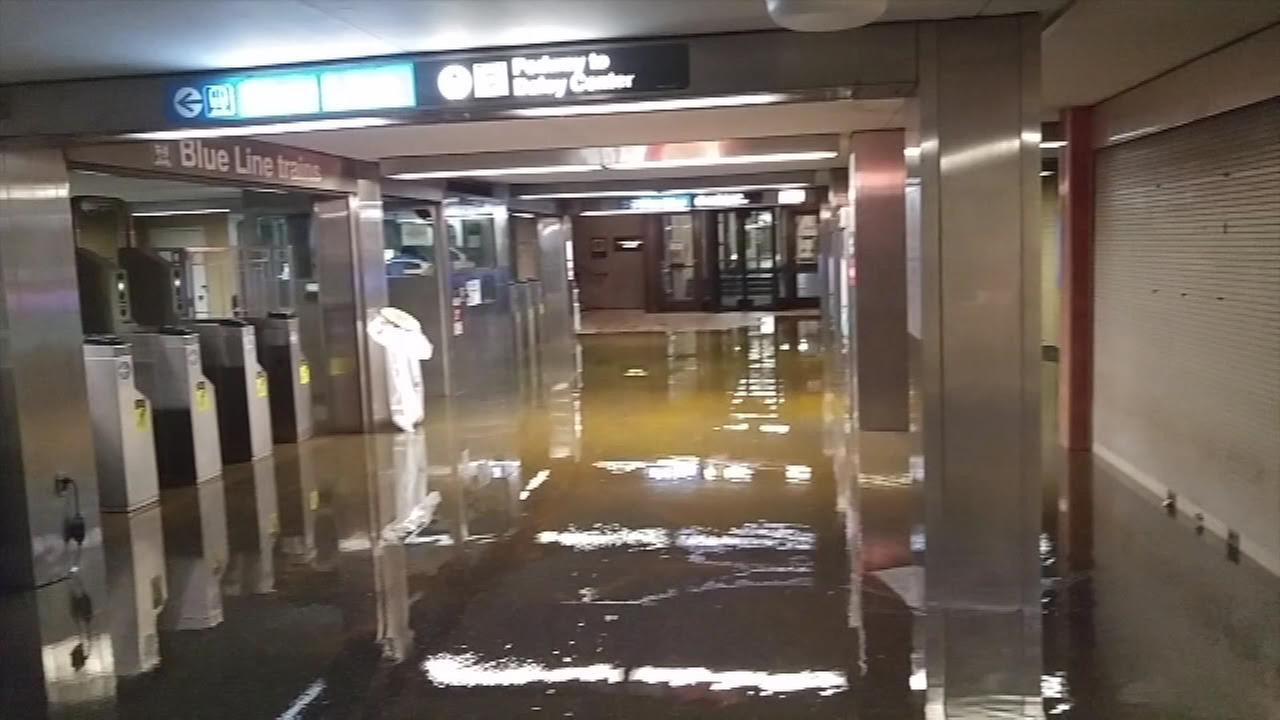 Block 37 Blue Line stop back in service after flooding