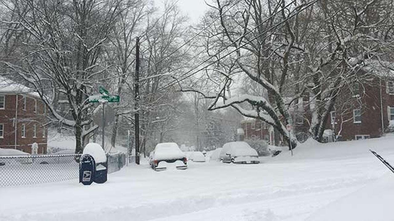 Snow in Takoma Park, Md., on the border with Washington. D.C., on Saturday, Jan. 23, 2016.Anna Wonson