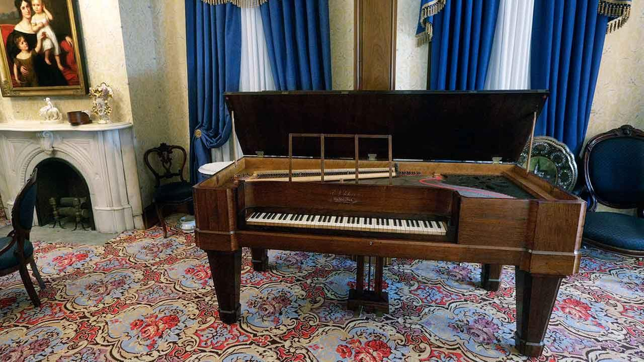 The recently restored square grand piano Abraham Lincoln likely heard when he courted Mary Todd at Edwards Place in Springfield, Ill.