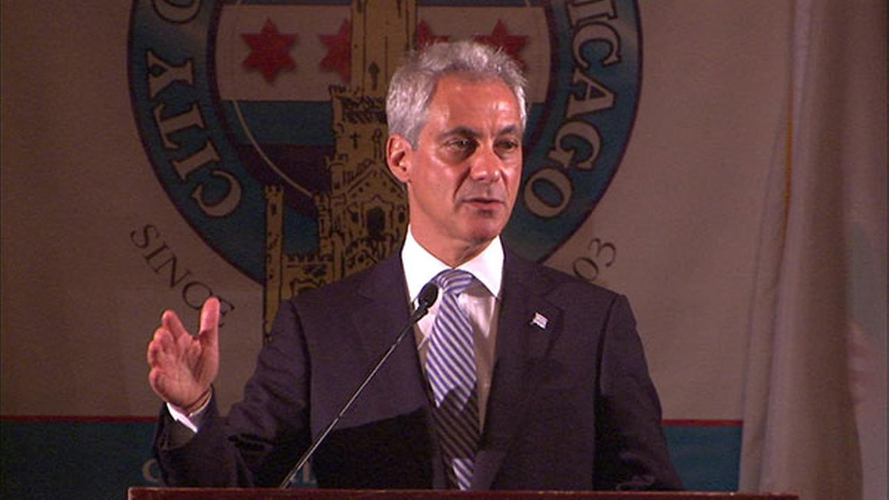 Rahm Emanuel speaks at an event in Chicago clad in one of his signature blue ties. Vanity Fair named Emanuel one of its Top 10 Best-Dressed Mayors.