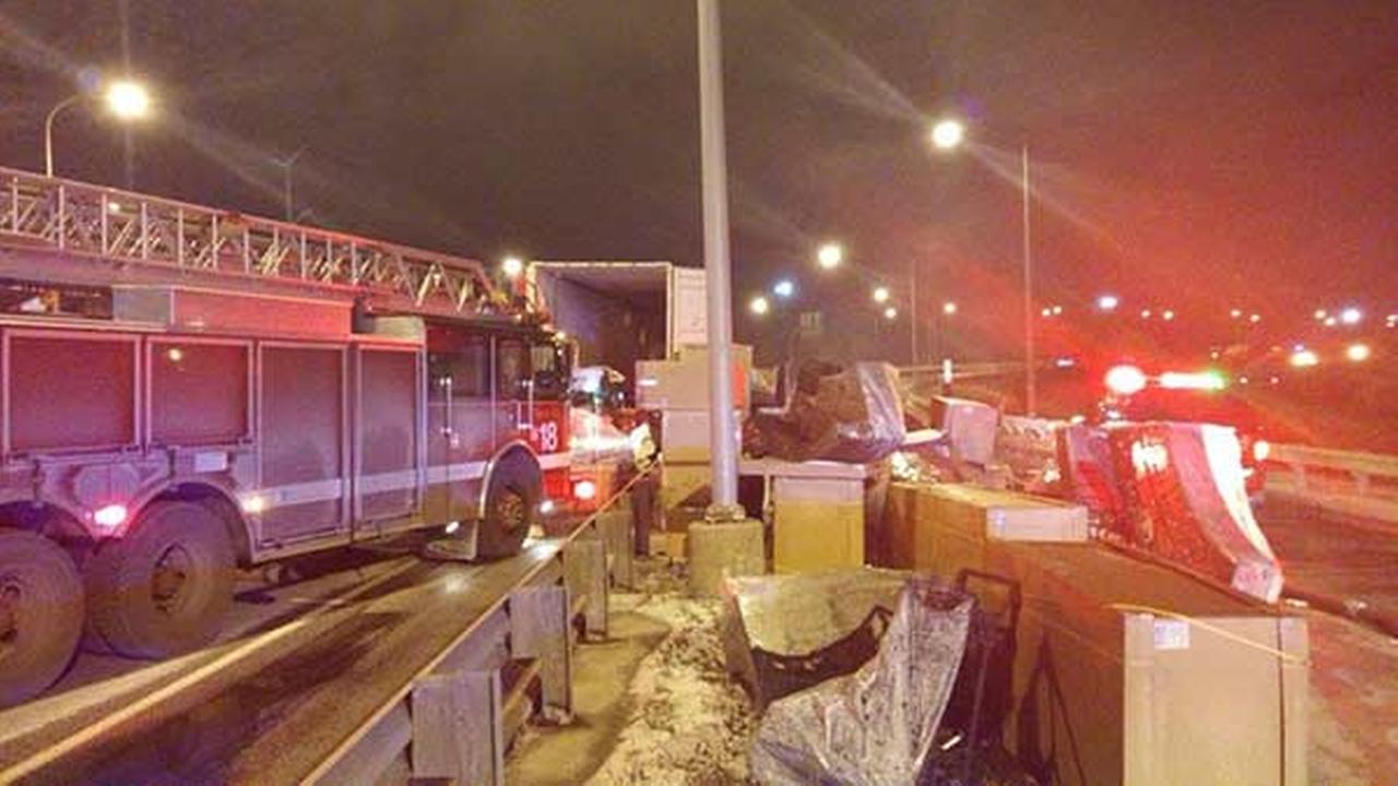 A truck fire shut down all outbound lanes on the Chicago Skyway Tuesday night. Chicago Fire Dept.