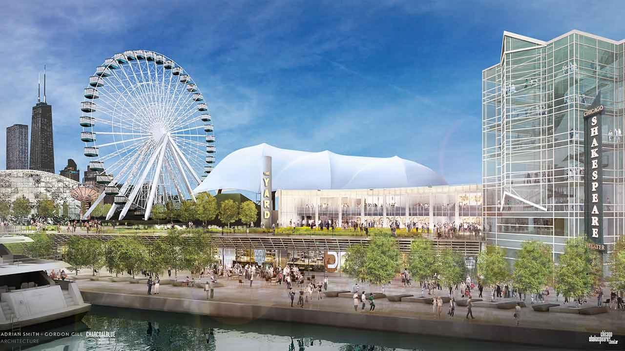 Artist rendering of planned expansion of the Chicago Shakespeare Theater and Navy Pier.