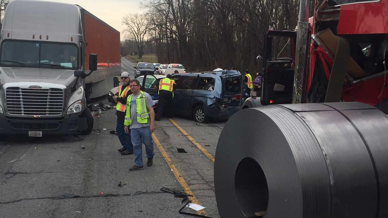 Several injured in 5-vehicle crash in LaPorte County