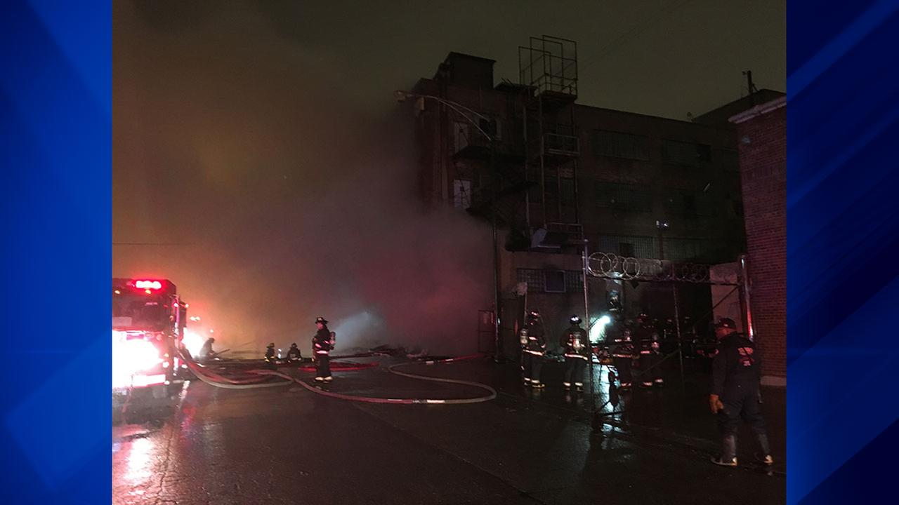 A fire broke out Saturday evening at a mattress warehouse in the Brighton Park neighborhood.