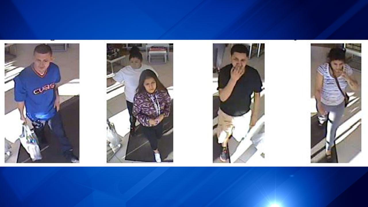 Surveillance video captured four of the five individuals wanted in the robbery of $838 worth of beauty products from Ulta Beauty in suburban Arlington Heights.