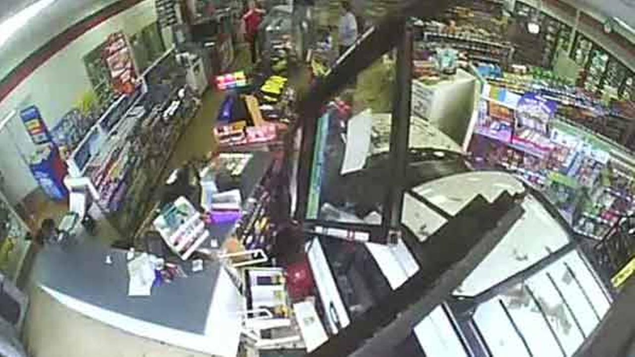 Surveillance video captured a close call at a 7-Eleven in Oregon after a driver crashed into the busy store.