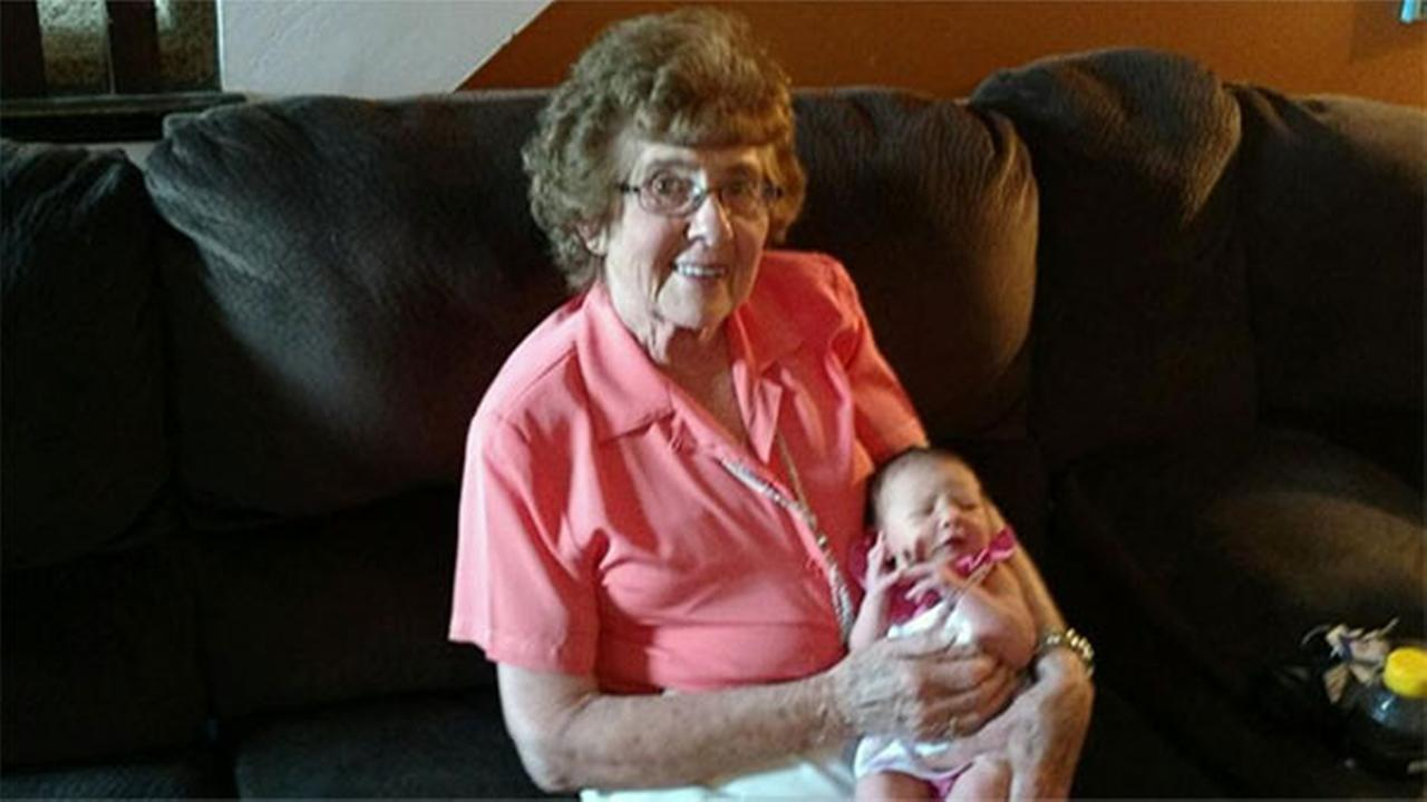 Marie Frey with her 86th great-grandchild, Blakely.