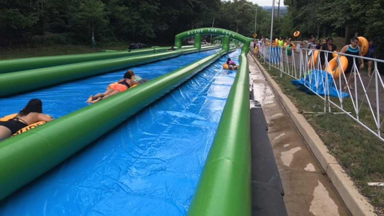 Carpentersvilles Slide the City features 1,000-foot water slide