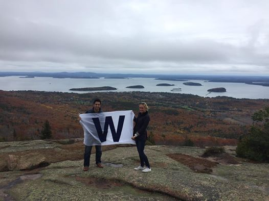 <div class='meta'><div class='origin-logo' data-origin='none'></div><span class='caption-text' data-credit=''>Chicagoans Kate Kraning and Dustin Willems fly the &#34;W&#34; flag at Acadia National Park in Bar Harbor, Maine.</span></div>