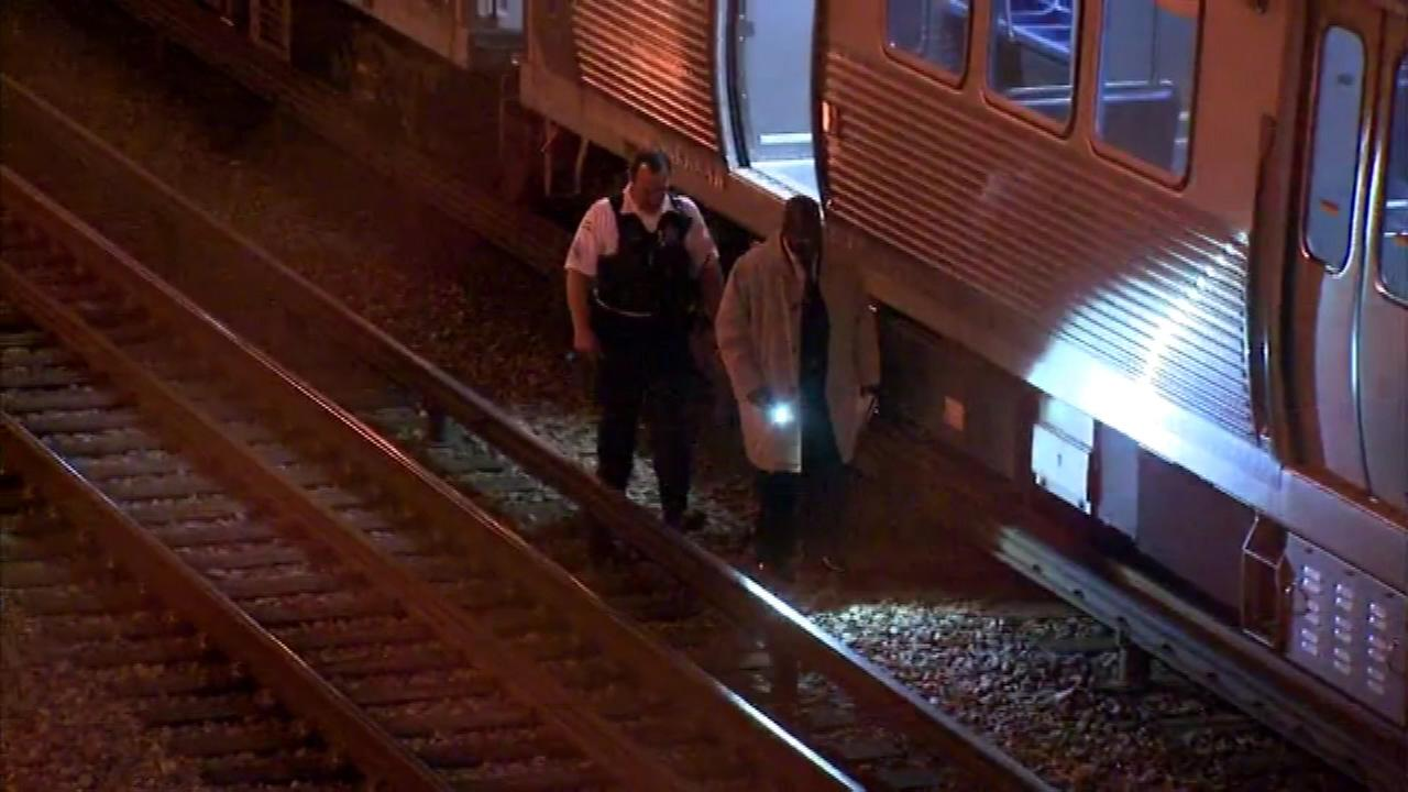 Authorities on the scene after a person was struck by a Red Line train.