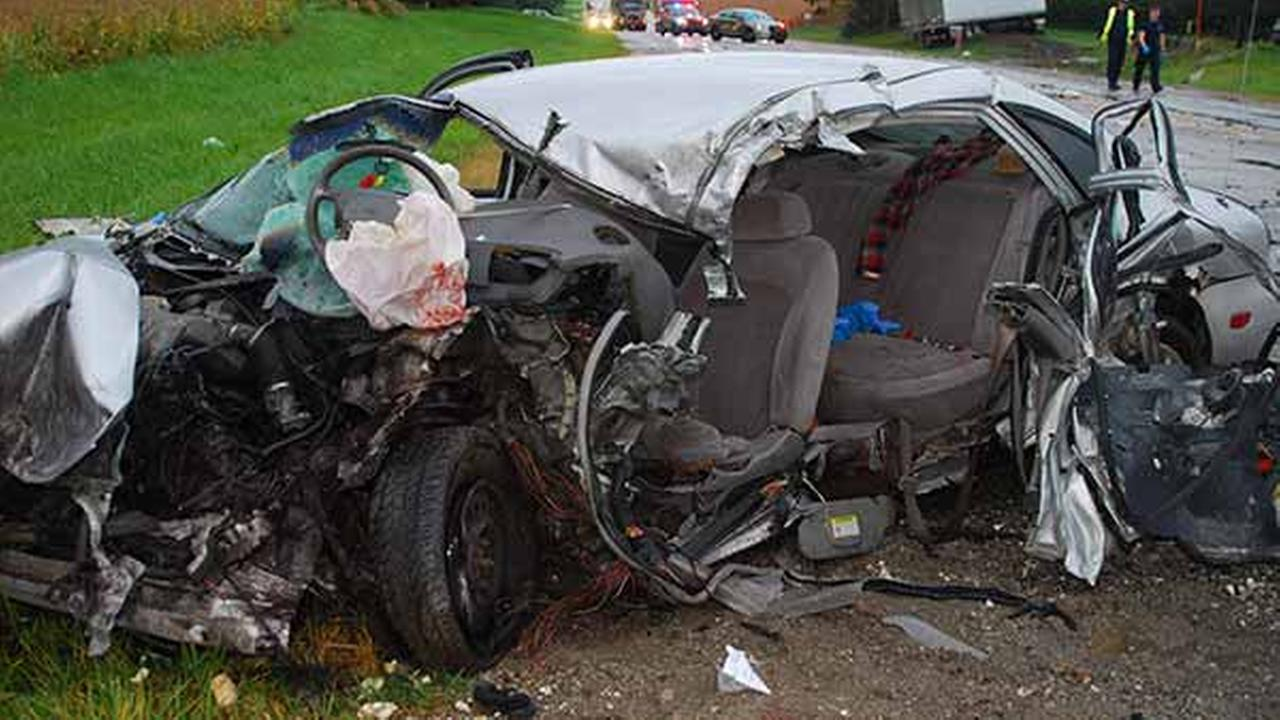Two teenagers were seriously injured when their car crashed into a semi early Thursday morning in La Porte, Ind.