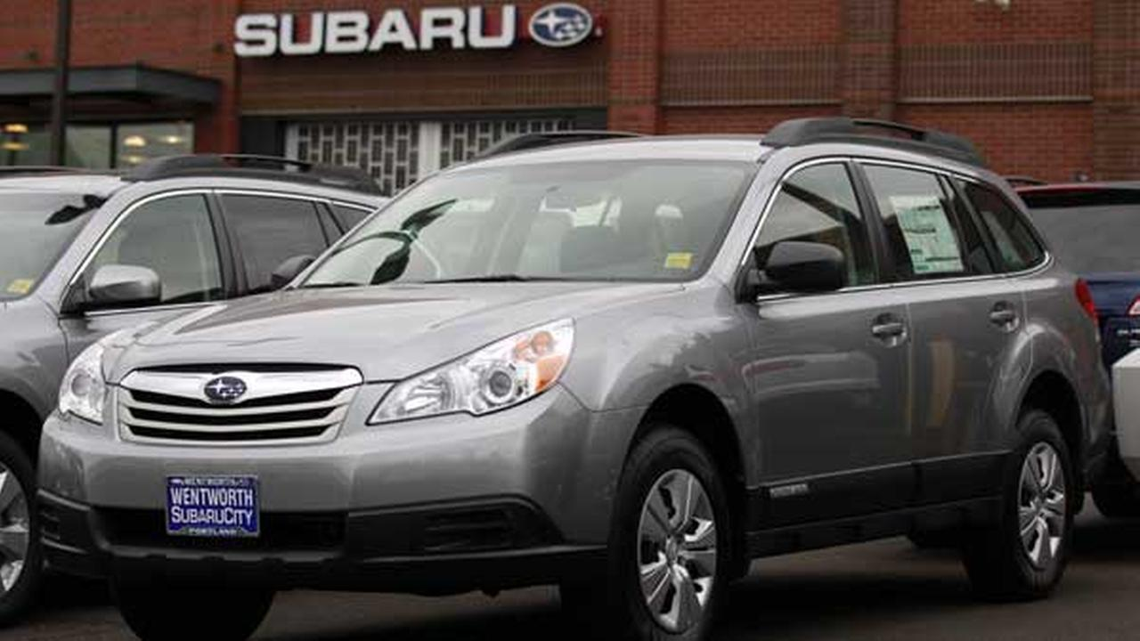 A 2011 Subaru Outback Pze is shown in a dealers lot in Portland, Ore.