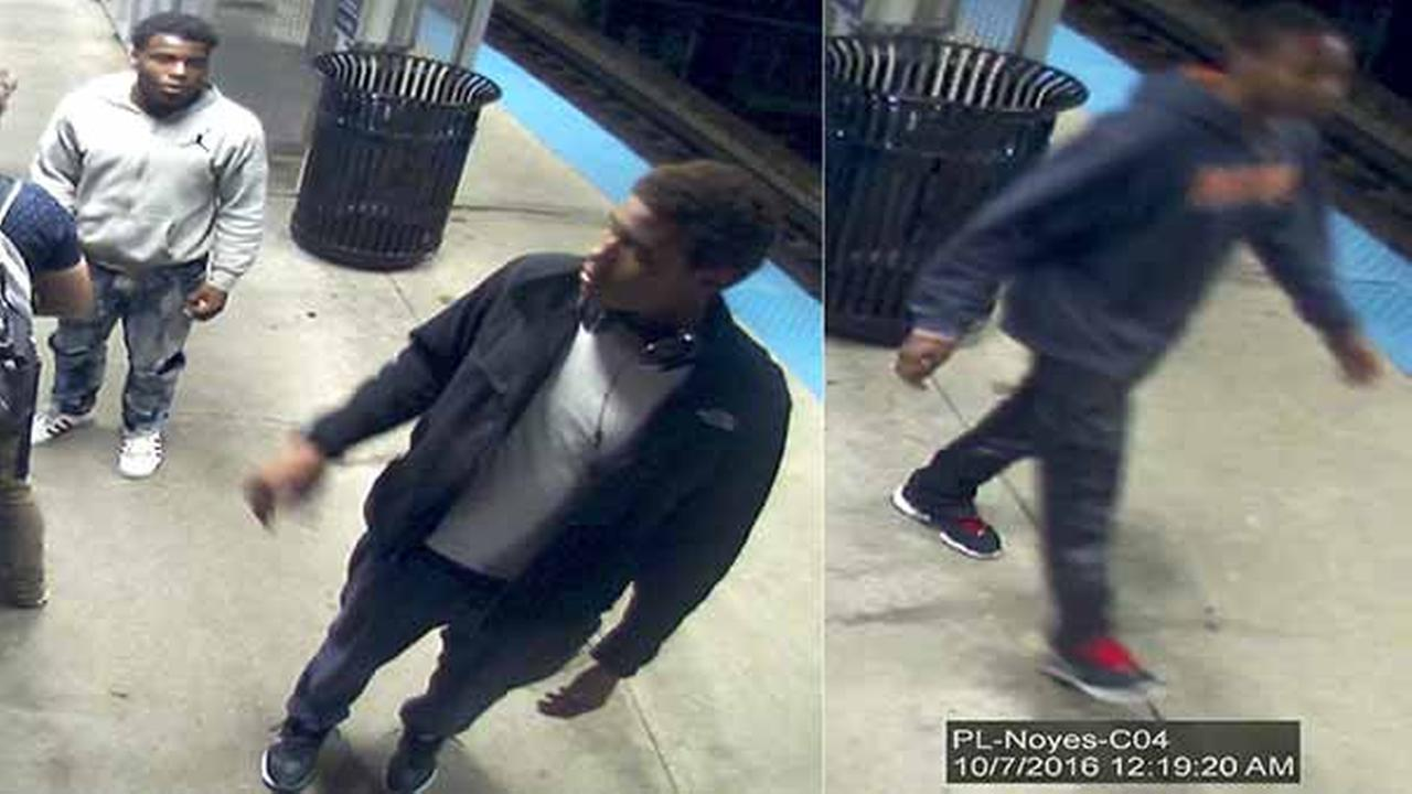 Police in north suburban Evanston released photos Saturday of three people suspected of trying to rob two Northwestern University students - one of them successfully - early Friday