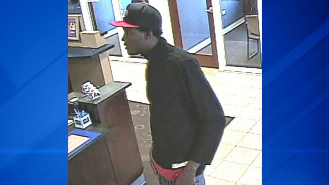Surveillance image of the suspect in a bank robbery Saturday morning at a PNC Bank branch at 7300 S. Stony Island Ave.