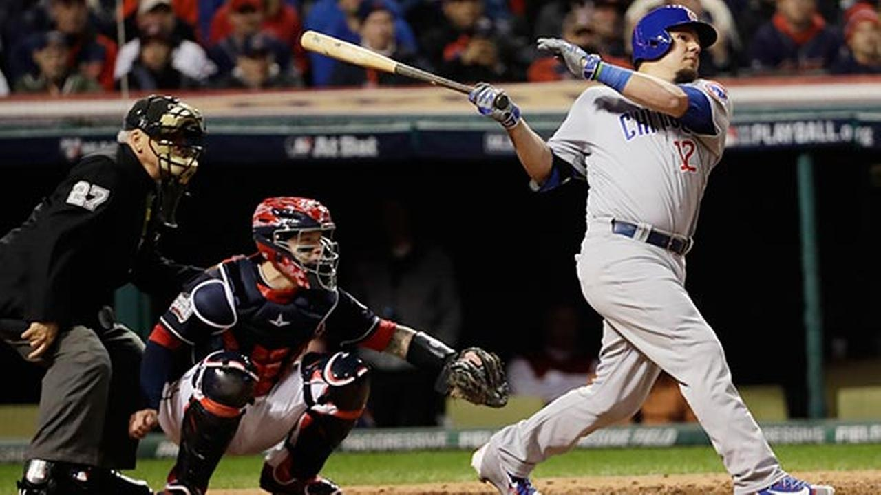Chicago Cubs Kyle Schwarber hits a double during the fourth inning of Game 1 of the Major League Baseball World Series against the Cleveland Indians Tuesday, Oct. 25, 2016.AP Photo/David J. Phillip