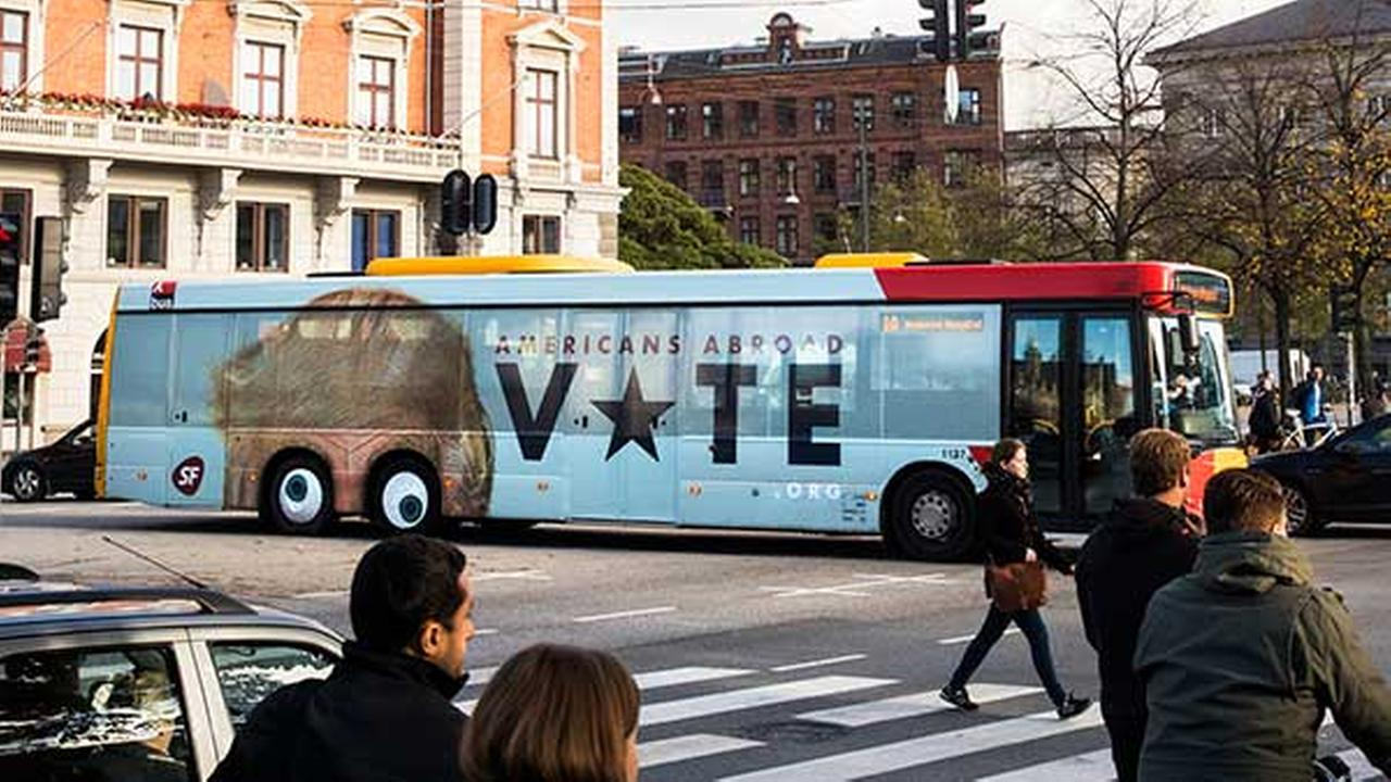 An undated photo provided by SF of a bus whose sides depict U.S. presidential candidate Donald Trumps forehead with eyes painted on the turning wheels.
