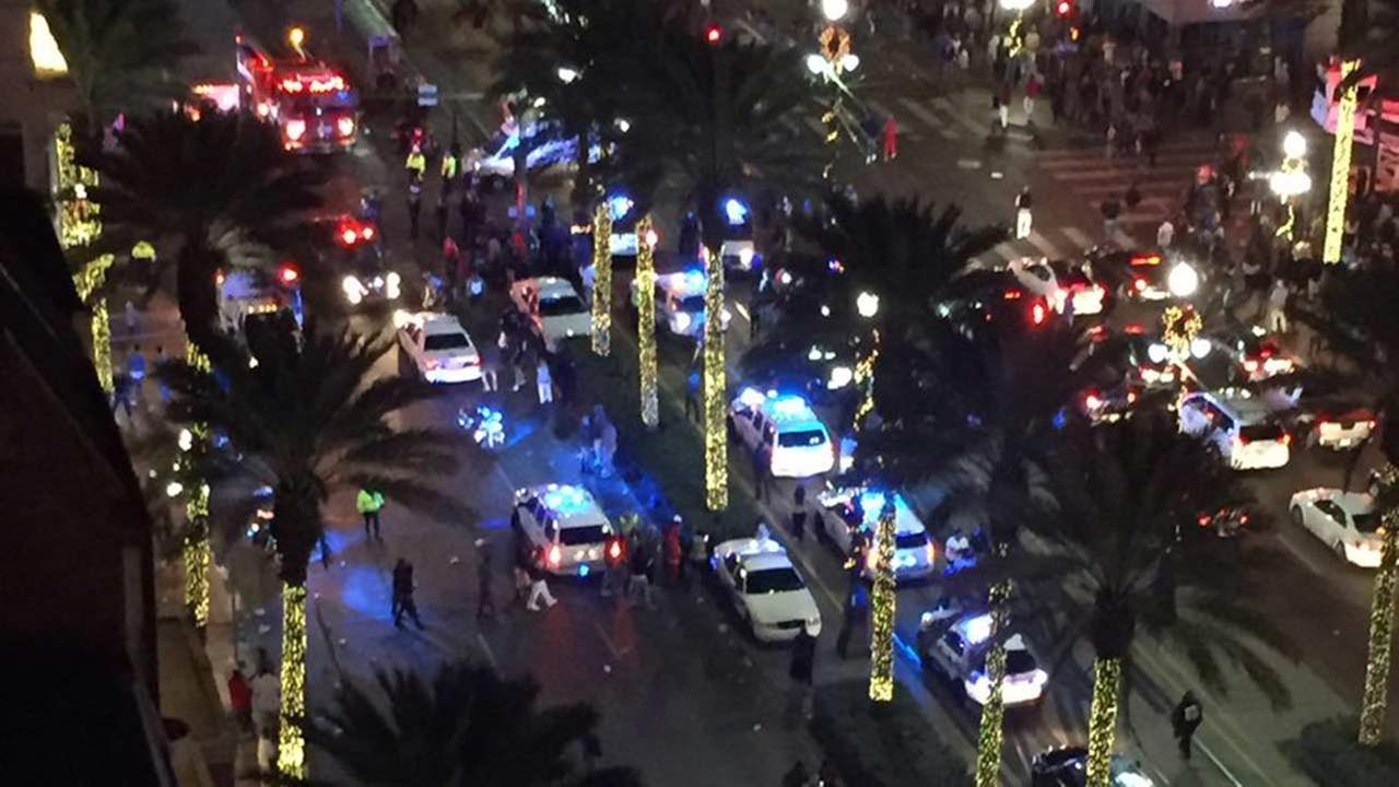 Police responding to a shooting in the French Quarter in New Orleans.
