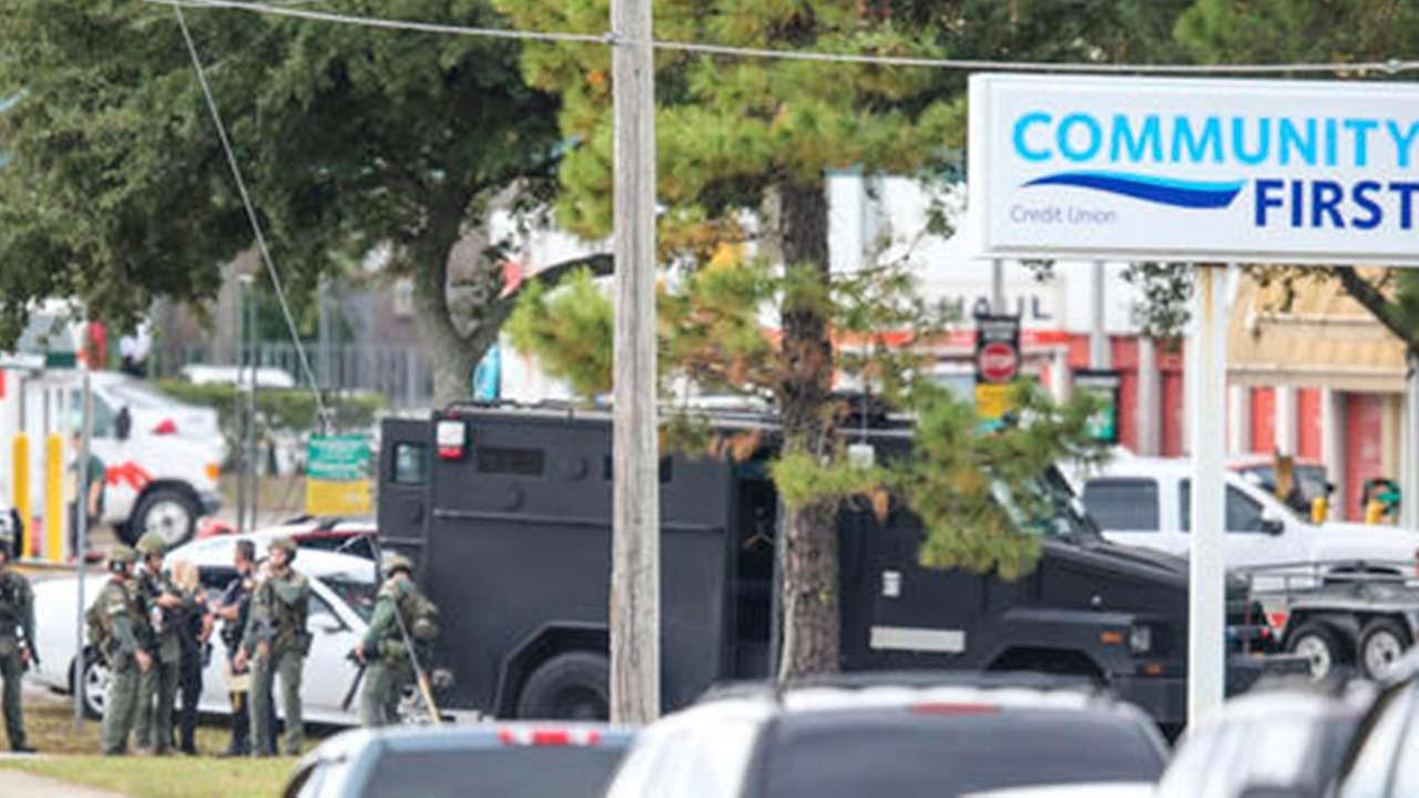 SWAT units responding to a hostage situation at a bank in Jacksonville, Florida.