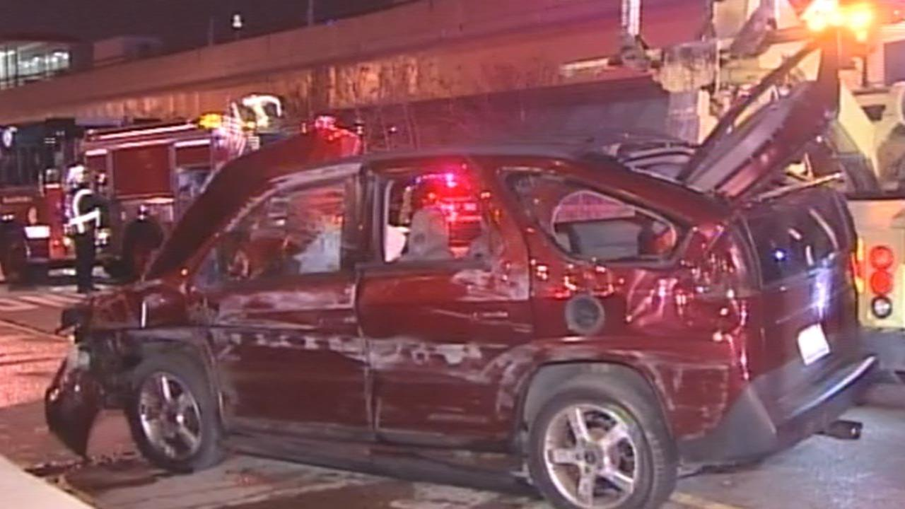 Illinois State Police investigate a single-vehicle rollover crash Saturday night on the Chinatown feeder ramp from the inbound Dan Ryan.