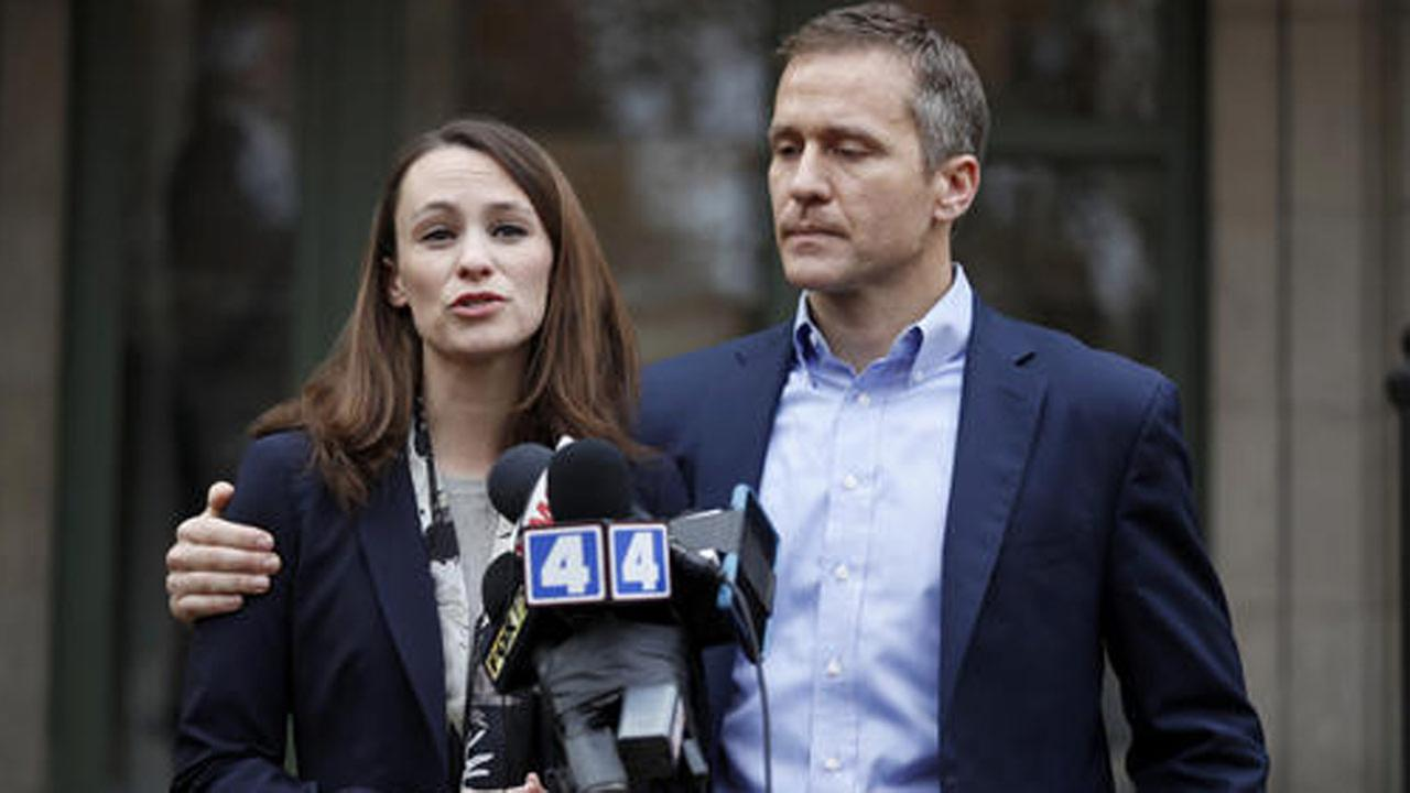 Missouri Gov.-elect Eric Greitens and his wife Sheena speak to the media Tuesday, Dec. 6, 2016, in St. Louis.