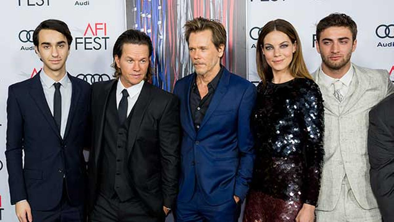 Alex Wolff, from left, Mark Wahlberg, Kevin Bacon, Michelle Monaghan, and Themo Melikidze arrive at the 2016 AFI Fest Patriots Day Special Closing Night Gala Presentation in LA.