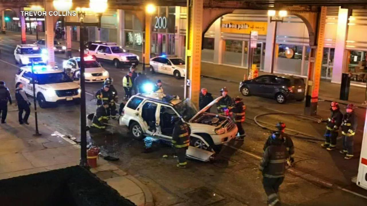 A woman was killed in a wrong-way crash in the Loop Monday morning.
