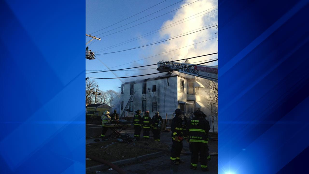 Firefighters battled an extra-alarm blaze Sunday morning in Austin.