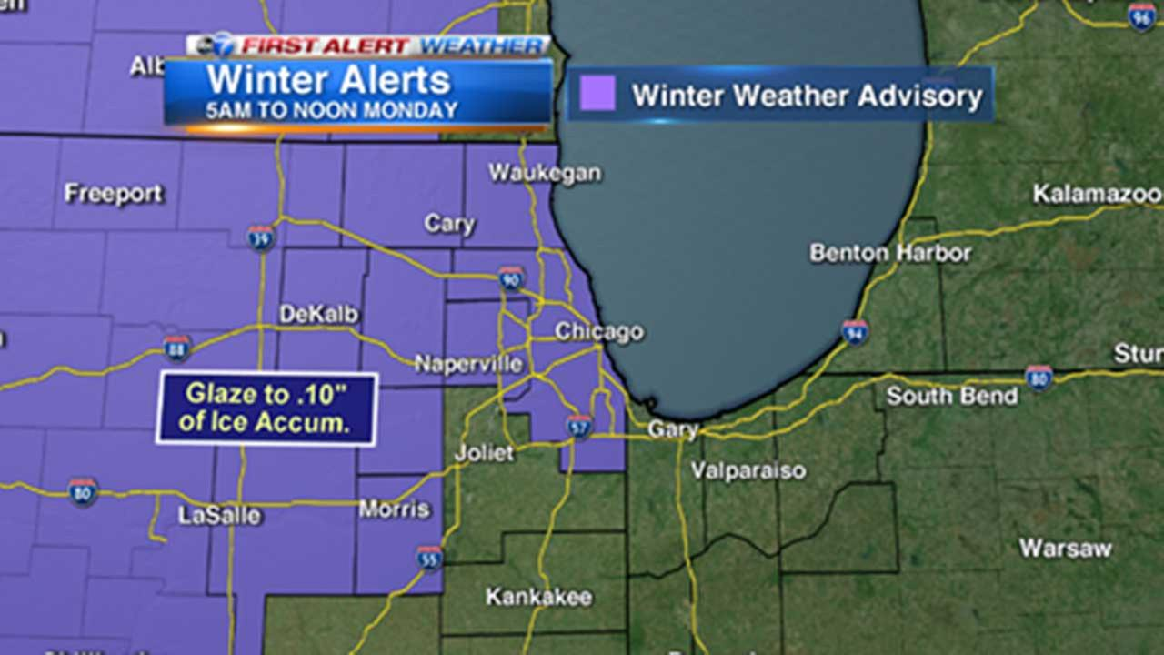 Chicago Weather: Freezing rain could impact Monday morning commute