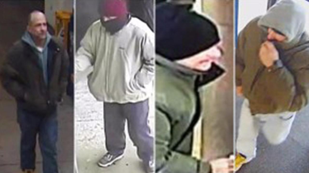 Surveillance images of a man suspected in four Chicago bank robberies.