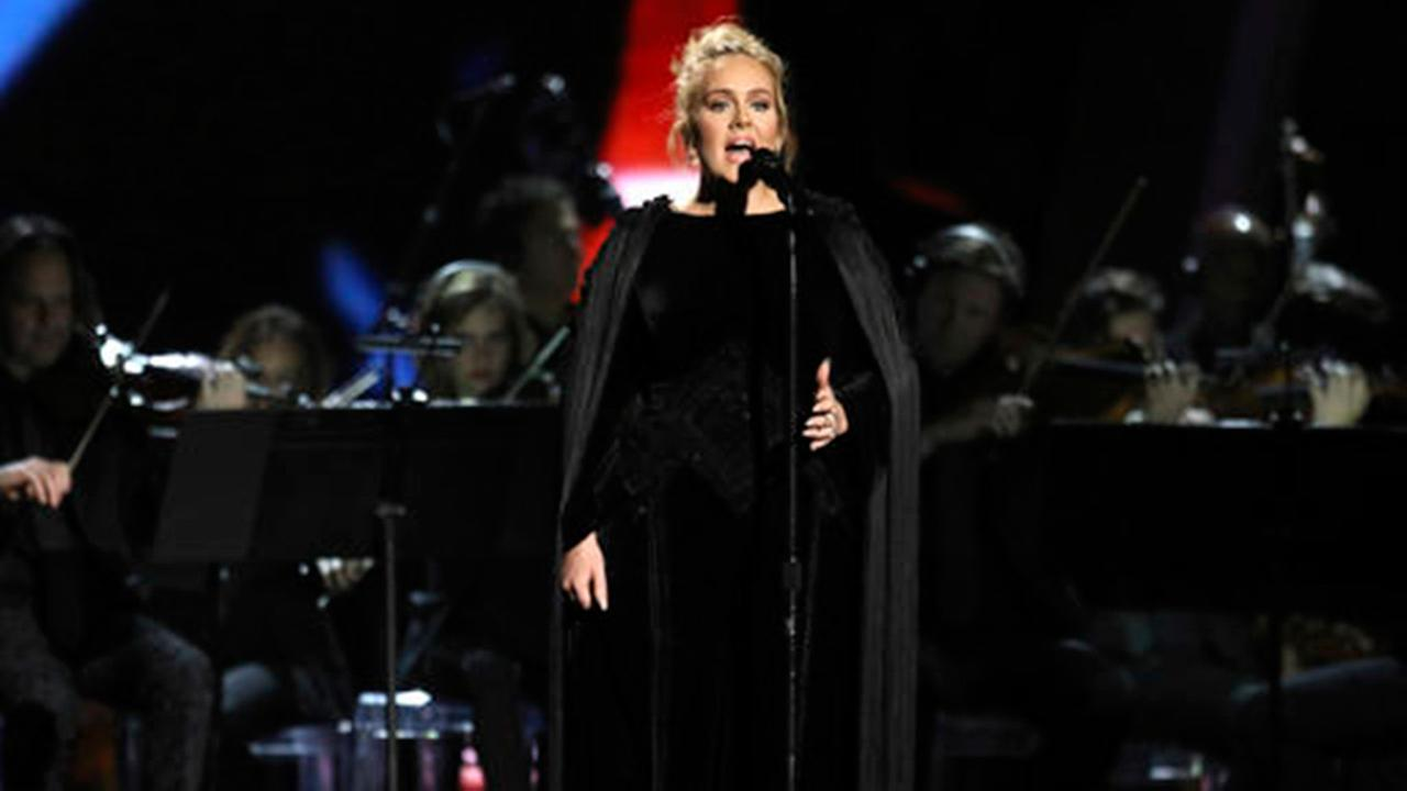 Adele performs a tribute to George Michael at the 59th annual Grammy Awards on Sunday, Feb. 12, 2017, in Los Angeles.