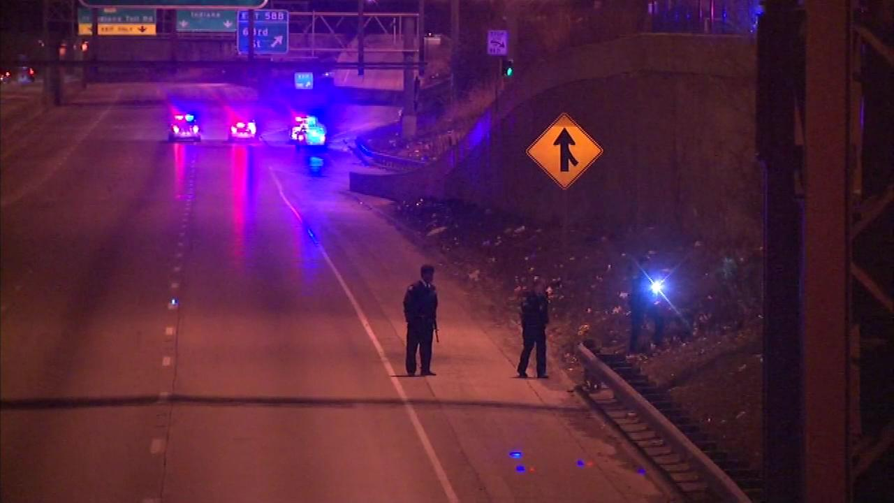 Police investigate a shooting on the Dan Ryan Expressway Thursday morning.