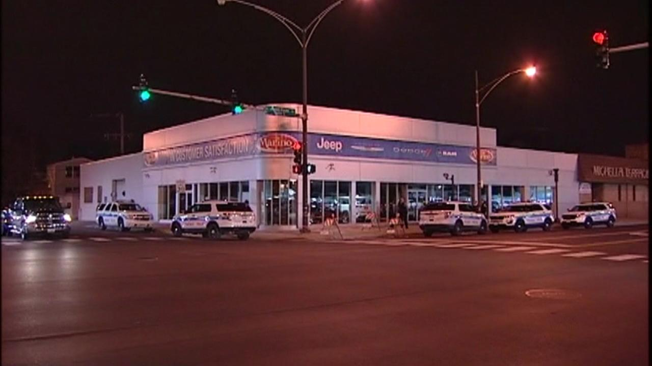 Chicago police investigate a break-in at the Marino Chrysler Jeep Dodge dealership in Portage Park Tuesday.