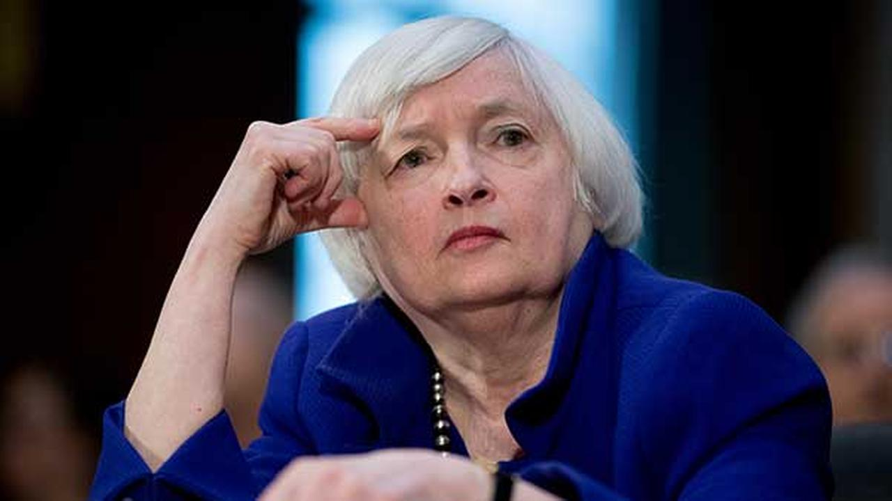 Federal Reserve Chair Janet Yellen pauses while testifying before the Senate Banking Committee on Capitol Hill in Washington.